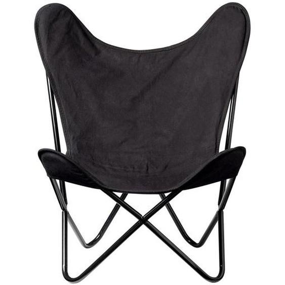 Stuhl Butterfly aus Metall und Baumwolle in Schwarz 81 x 91 x 71 cm