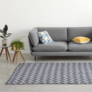Oblique Teppich (160 x 230 cm), Blaugruen und Grau