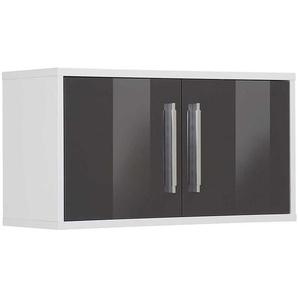 Office Hängeschrank in Weiß und Grau Hochglanz 80 cm breit