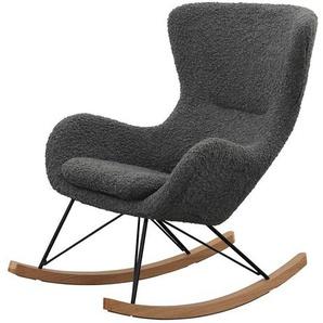 Ohren Schaukelsessel in Grau Webplüsch Skandi Design