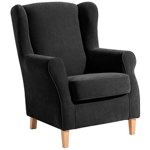 Ohrenbackensessel LORRIS-23 Veloursstoff Farbe schwarz Sitzhärte mittel B: 77cm T: 86cm H: 103cm