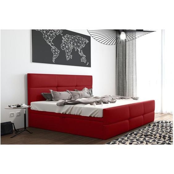 Olomana Polsterbett Kunstleder 200x200 cm Rot