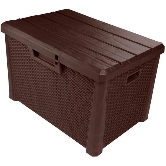 ONDIS24 Auflagenbox Nevada Kompakt, 120 Liter, Kunststoff B/H/T: 73 cm x 46 50 braun Garten- Kissenboxen Gartenmöbel Gartendeko