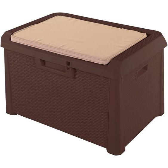 ONDIS24 Auflagenbox Santo Kompakt, 120 Liter, Kunststoff B/H/T: 73 cm x 50 braun Garten- Kissenboxen Gartenmöbel Gartendeko