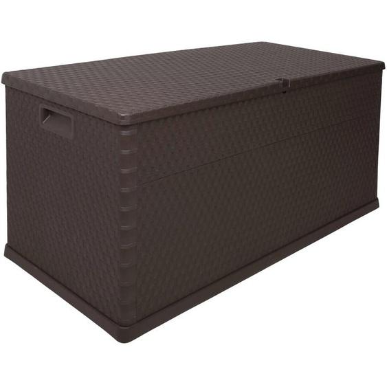 ONDIS24 Kissenbox Rattan, 420 Liter, Kunststoff B/H/T: 120 cm x 63 57 braun Garten- Kissenboxen Gartenmöbel Gartendeko