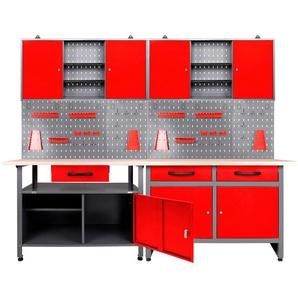 ONDIS24 Werkstatt-Set 2x Werkbank, 2x Werstattschrank, 2x Lochwand