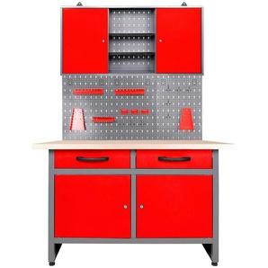 ONDIS24 Werkstatt-Set »Werner«, 120 cm, mit Lochwandsystem inkl. Haken