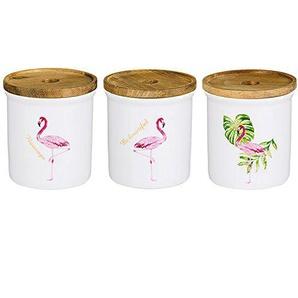 OnePine 3er Set Runde Frischhaltedose mit Deckel Vorratsdose Kaffeedose Teedose,480ml/16 oz Flamingo Keramik Aufbewahrungsdosen für Tee Kaffee Bohne Zucker Gewürz Nüsse Korn