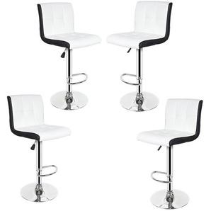 Soft Barhocker Tresenhocker Küchenhocker Loungesessel Gitter mit Lehne Weiß-Schwarz 4er Set - OOBEST