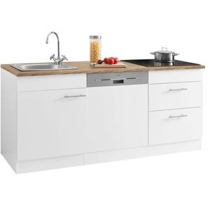 OPTIFIT Küchenzeile Mini, mit E-Geräten, Breite 180 cm, 28 mm starker Arbeitsplatte E (A bis G) B: cm weiß Küchenzeilen -blöcke Küchenmöbel