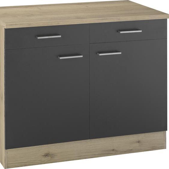 OPTIFIT Unterschrank Iver, Breite 100 cm, 2 Türen und Schubkästen, mit 38 mm starker Arbeitsplatte B/H/T: cm x 85,8 60 grau Unterschränke Küchenschränke Küchenmöbel