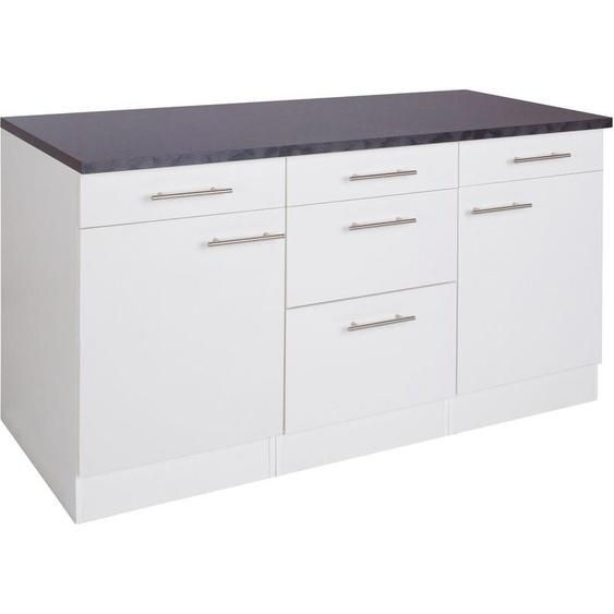 OPTIFIT Unterschrank Tula, Breite 150 cm B/H/T: x 84,8 60 cm, 2 weiß Unterschränke Küchenschränke Küchenmöbel