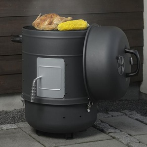 Orange County Smoker OCS 60360004 Räucherofen Räuchertonne Elektrisch Stilvoller, schwarzer 3-in-1 BBQ-Grill mit 1800 Watt Leistung im Fassdesign Ohne Flamme Ideal für Garten und Terrasse, Rustikal