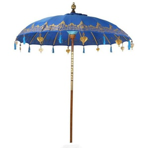 Oriental Galerie Sonnenschirm »Balinesischer Sonnenschirm 180 cm Einfache Bemalung Blau Gold«, Handarbeit
