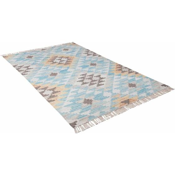 Teppich »Check Kelim«, TOM TAILOR, rechteckig, Höhe 5 mm, Boho-Style, handgewebt, mit Fransen, Wohnzimmer