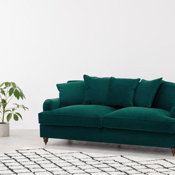 Orson 3-Sitzer Sofa, Samt in Meerblau