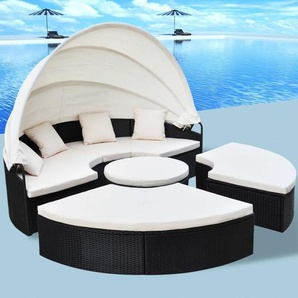 Outdoor-Sonneninsel Poly Rattan Schwarz - VIDAXL