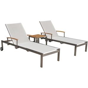OUTFLEXX 2er-Set Sonnenliegen, weiß, Edelstahl/Teak, mit Beistelltisch 45 x 45cm