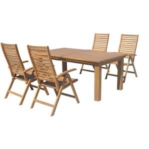 OUTFLEXX Esstischgarnitur, natur, FSC-Akazienholz, Tisch 180/220/260x100cm, 4 Klappstühle, ausziehbar