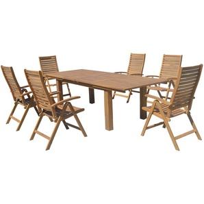 OUTFLEXX Esstischgarnitur, natur, FSC-Akazienholz, Tisch 180/220/260x100cm, 6 Klappstühle, ausziehbar