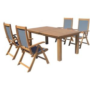 OUTFLEXX Esstischgarnitur, natur/grau, FSC-Akazie/Textilene, Tisch 180/220/260x100cm, 4 Klappstühle, ausziehbar