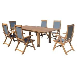 OUTFLEXX Esstischgarnitur, natur/grau, FSC-Akazie/Textilene, Tisch 180/220/260x100cm, 6 Klappstühle, ausziehbar