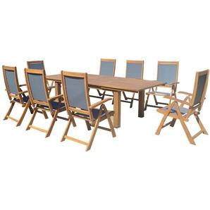 OUTFLEXX Esstischgarnitur, natur/grau, FSC-Akazie/Textilene, Tisch 180/220/260x100cm, 8 Klappstühle, ausziehbar
