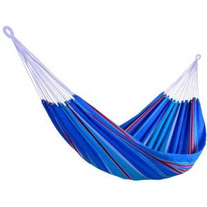 RESTPOSTEN: OUTFLEXX Hängematte, blau gestreift, Baumwolle, Handarbeit aus Brasilien, 230x160cm