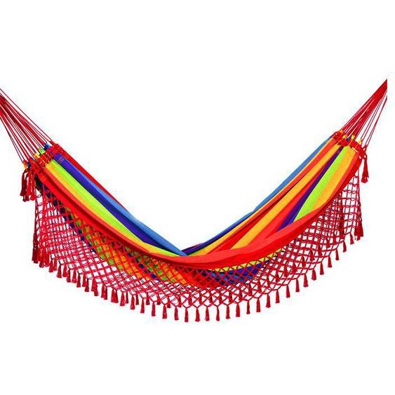 OUTFLEXX Hängematte, bunt gestreift, Baumwolle/Polyester, Handarbeit aus Brasilien, 410 x 155 cm