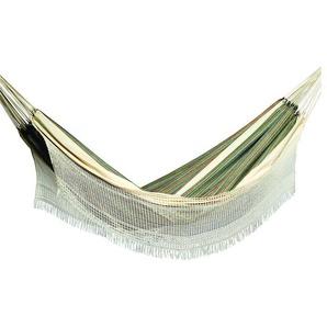 OUTFLEXX Hängematte, grün gestreift, Baumwolle/Polyester, Handarbeit aus Brasilien, 390 x 145 cm
