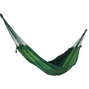 RESTPOSTEN: OUTFLEXX Hängematte, grün kariert, Baumwolle/Polyester, Handarbeit aus Brasilien, 400 x 160 cm