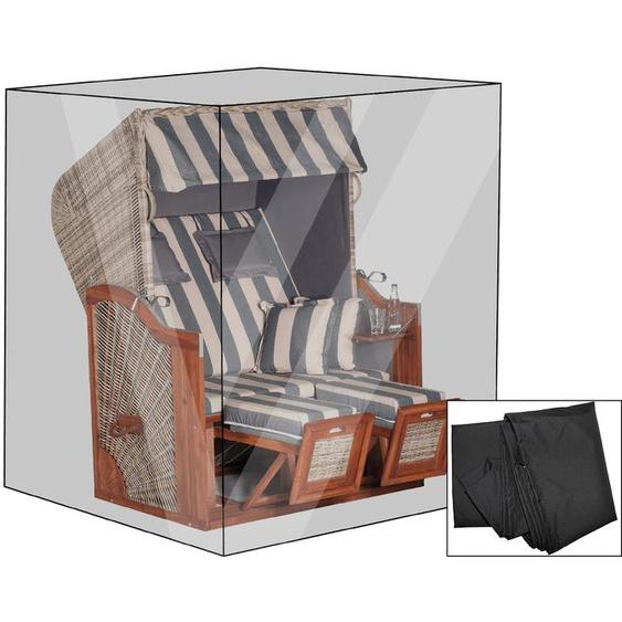 OUTFLEXX Premium Abdeckhaube für Strandkörbe, schwarz, wasserbeständig, 137 x 107 x 177/142 cm