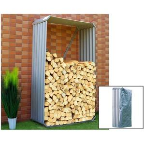 OUTFLEXX Set Kaminholzregal mit Wetterschutz und Wandhalterung, silber, Zincalume, 105x180cm