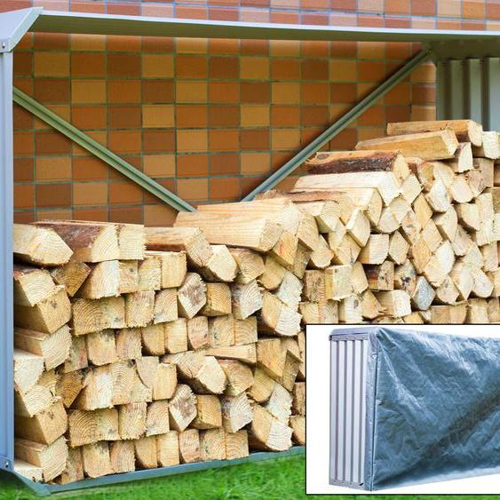 OUTFLEXX Set Kaminholzregal mit Wetterschutz und Wandhalterung, silber, Zincalume, 210x105cm