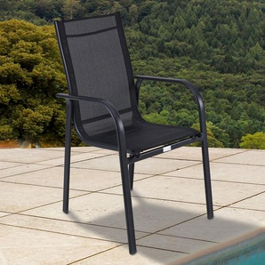 OUTFLEXX Stapelstuhl, anthrazit matt/schwarz, Aluminium/Textilene, 67x56x95cm
