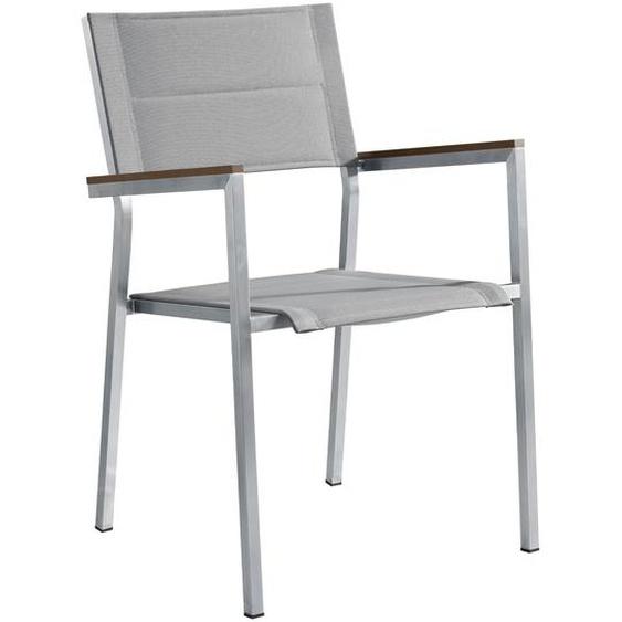 OUTFLEXX Stapelstuhl, silber/grau, Edelstahl/Textilene, 57 x 57 x 85 cm