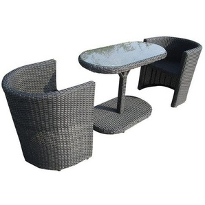 OUTLIV. Breakfast Balkonset 3-teilig Aluminium/Geflecht Braun