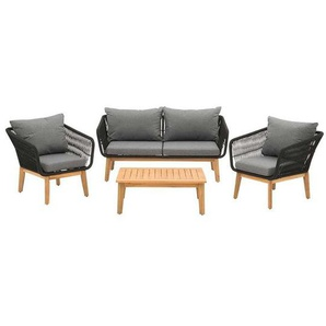 OUTLIV. Mauritius Sofagruppe Akazie/Rope inkl. Kissen Dunkelgrau/Hellgrau