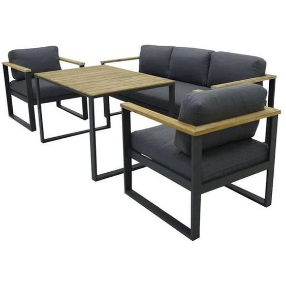 OUTLIV. Melton Sofagruppe 4-teilig Aluminium inklusive Kissen mit Akazienarmlehnen Dunkelgrau