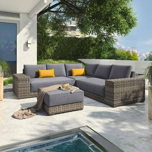 OUTLIV. Messina Loungeecke 4-teilig Geflecht Organic Grey/Anthrazit