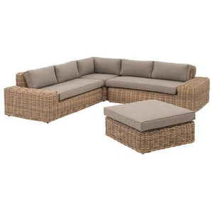 OUTLIV. Yate Loungeecke 4tlg. Aluminium/Geflecht Mixed Brown