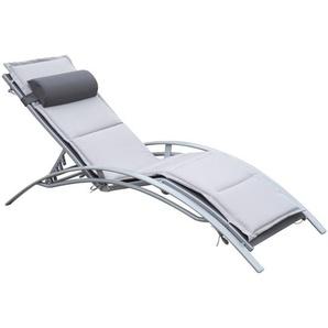 Outsunny® Sonnenliege Gartenliege Alu verstellbar mit Liegematte Grau