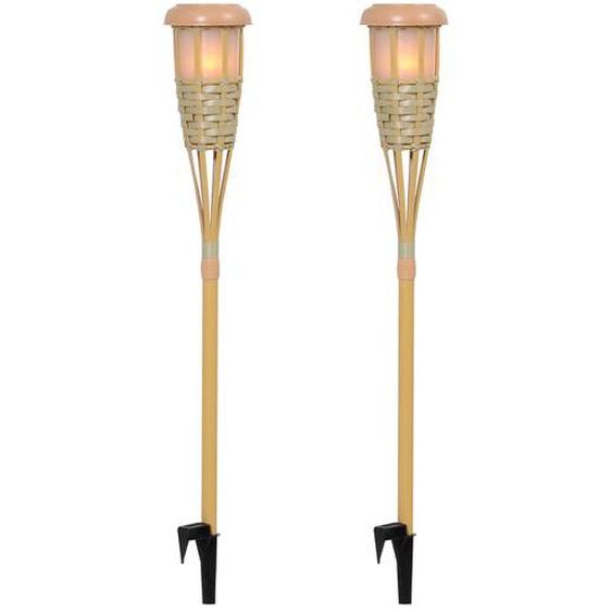 Outsunny Solarlampe im 2er-Set Bambus