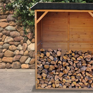OUTTECH Kaminholzregal, braun/schwarz, FSC® Kiefernholz, ca. 129x78x150 cm