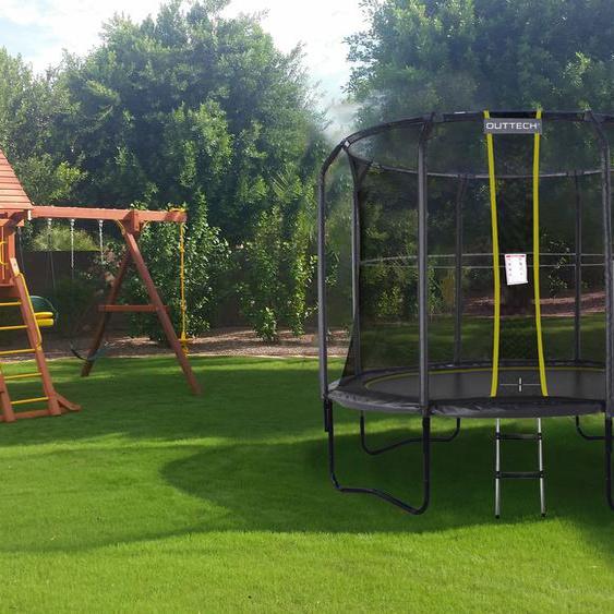 OUTTECH SkyRods Plus Trampolin, schwarz, Ø 305 cm, Metallsprungfedern, mit Sicherheitsnetz und Leiter