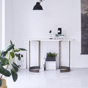Ovale Konsole aus Metall mit heller Marmorplatte und Metallstruktur 120 cm Gusta