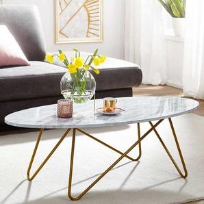 Ovaler Couchtisch in Weiß und Goldfarben Bügel Vierfußgestell