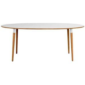 Ovaler Esstisch in Wei� und Eiche 190 cm