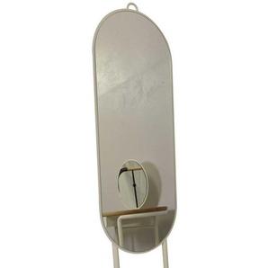Ovaler Standspiegel in Weiß Metall Eiche Massivholz
