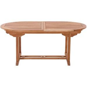 Ovaler Terrassen Esstisch aus Teak Massivholz ausziehbar
